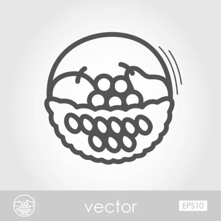 fruit basket: Fruit Basket outline icon. Harvest. Thanksgiving Illustration