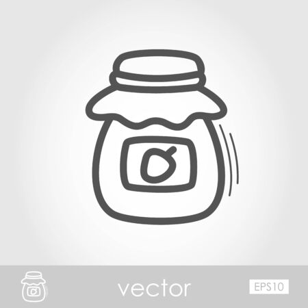 tagged: Jam jar outline icon. Harvest. Thanksgiving Illustration
