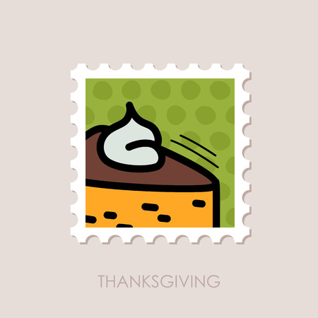 postmark: Piece of pumpkin pie served with whipped cream on the top stamp. Harvest. Thanksgiving