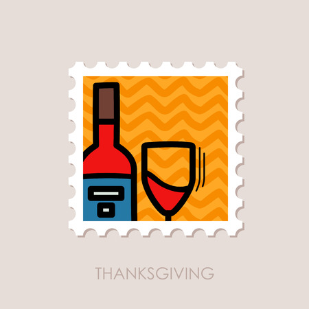 postmark: Bottle of wine and glass stamp. Harvest. Thanksgiving