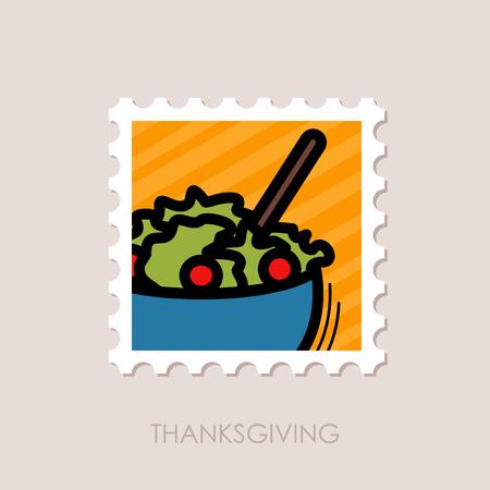 Salad bowl stamp. Harvest. Thanksgiving Illustration