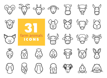 Set of farm animals outline icons. Vector head illustration.