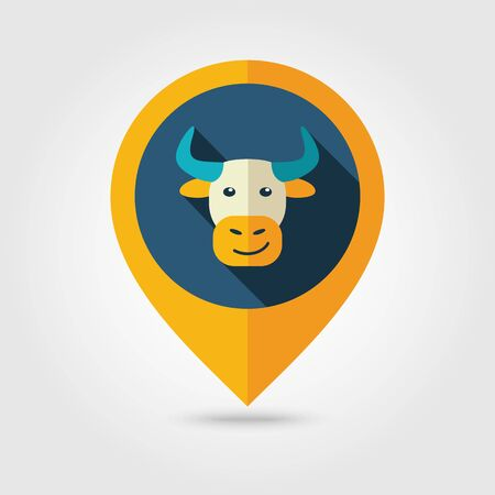 map pin: Bull flat pin map icon. Map pointer. Map markers. Illustration