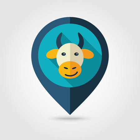 map pin: Cow flat pin map icon. Map pointer. Map markers.
