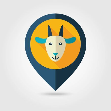 map pin: Goat flat pin map icon. Map pointer. Map markers.