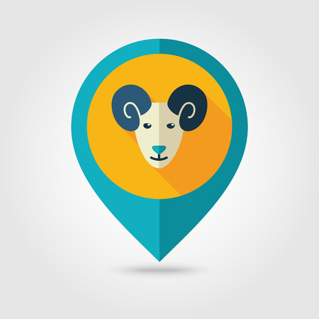 map pin: Sheep flat pin map icon. Map pointer. Map markers.