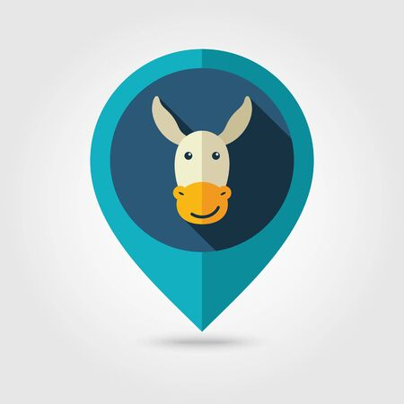 Donkey flat pin map icon. Map pointer. Map markers. Animal head illustration