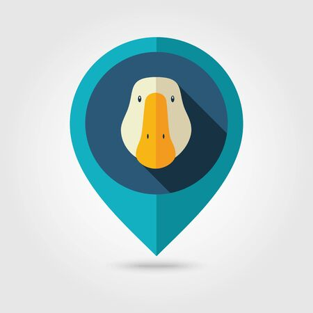 goose head: Goose flat pin map icon. Map pointer. Map markers. Animal head illustration Illustration