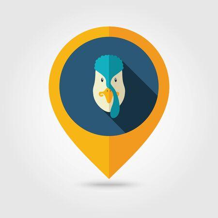 Turkey flat pin map icon. Map pointer. Map markers. Animal head illustration Illustration