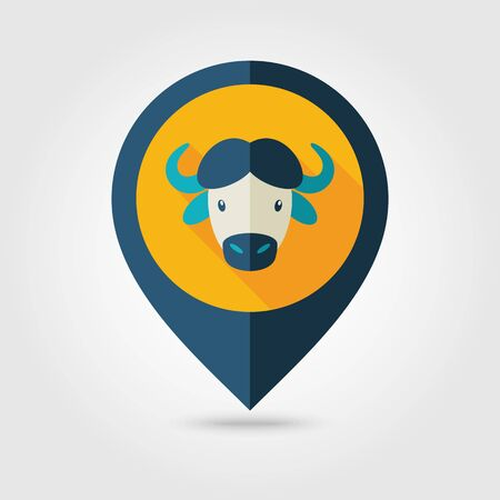 buffalo bison: Buffalo bull bison ox flat pin map icon. Map pointer. Map markers. Animal horned head symbol