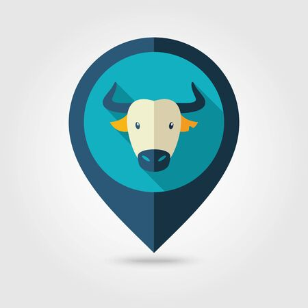 spanish bull: Spanish bull bison buffalo ox flat pin map icon. Map pointer. Map markers. Animal horned head symbol