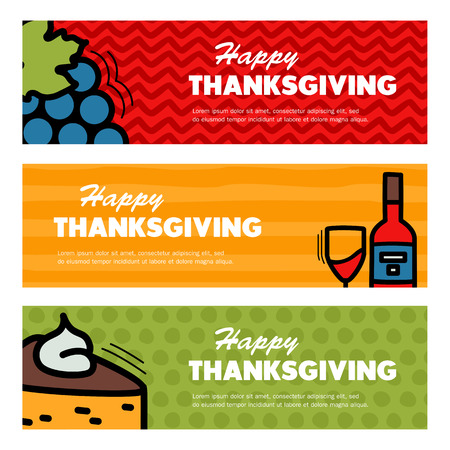 Happy Thanksgiving day. Three Thanksgiving banners