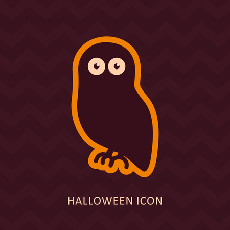 avian: Halloween owl silhouette icon Illustration