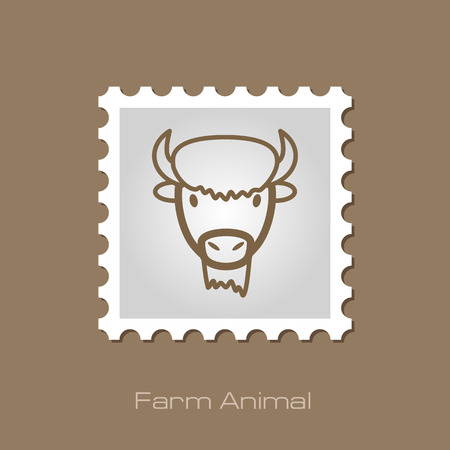 bison: Bison bull buffalo ox outline stamp.