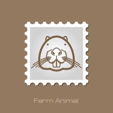 otter: Otter beaver outline stamp. Illustration