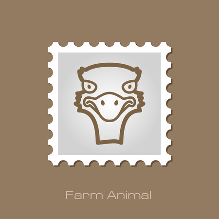 ostrich: Ostrich outline stamp. Illustration