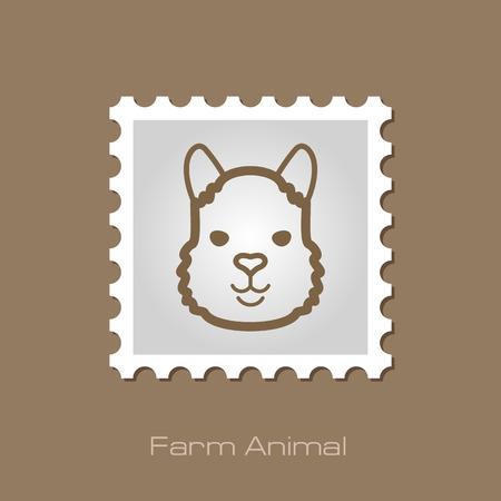 alpaca: Lama alpaca outline stamp.