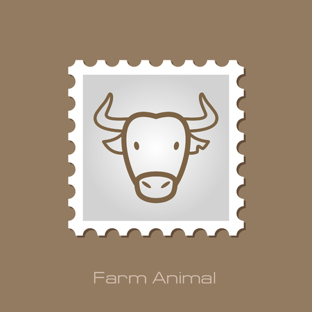 buffalo bison: Spanish bull bison buffalo ox outline stamp. Illustration