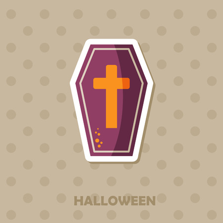 Coffin vector icon. Halloween sticker,