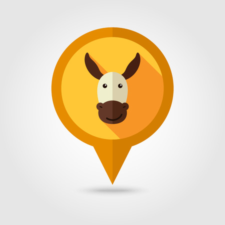 jackass: Donkey flat pin map icon. Map pointer. Map markers. Animal head vector illustration,
