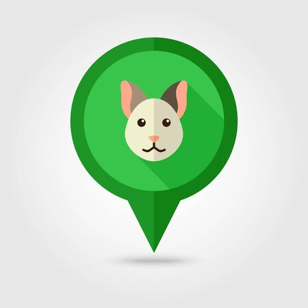Cat flat pin map icon. Map pointer. Map markers. Animal head vector illustration,