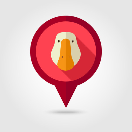 goose head: Goose flat pin map icon. Map pointer. Map markers. Animal head vector illustration,