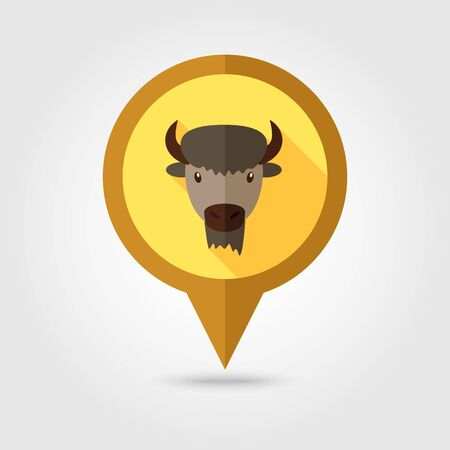 buffalo bison: Bison bull buffalo ox flat pin map icon. Map pointer. Map markers. Animal horned head vector symbol Illustration