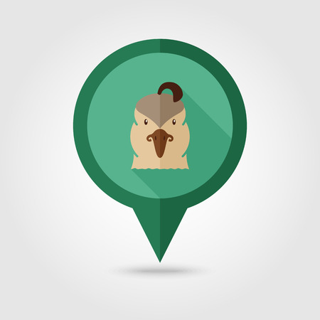 Quail flat pin map icon. Map pointer. Map markers. Animal head vector symbol Imagens - 66957215