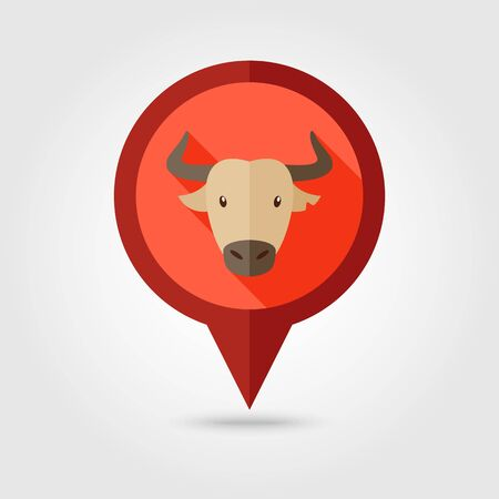 spanish bull: Spanish bull bison buffalo ox flat pin map icon. Map pointer. Map markers. Animal horned head vector symbol