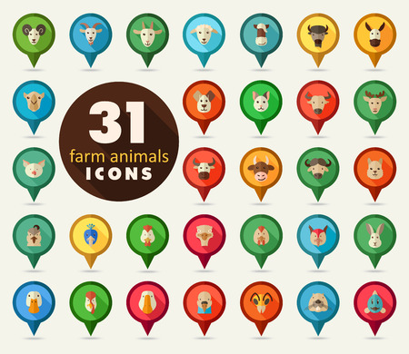 Set of farm animals flat pin map icon. Map pointer. Map markers. Animal head vector illustration, Illustration