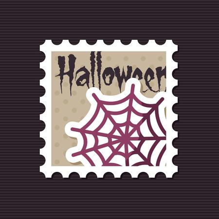 arachnid: Spider web halloween stamp, vector illustration Illustration