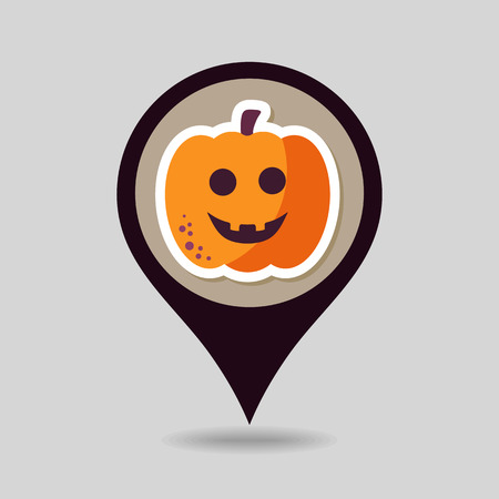 mapping: Halloween pumpkins mapping pin icon, vector illustration