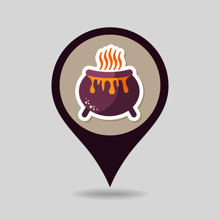 witchery: Halloween witch cauldron mapping pin icon, vector illustration