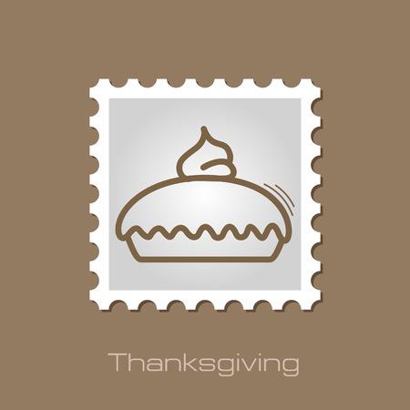 Thanksgiving Pie stamp. Harvest. Vector illustration