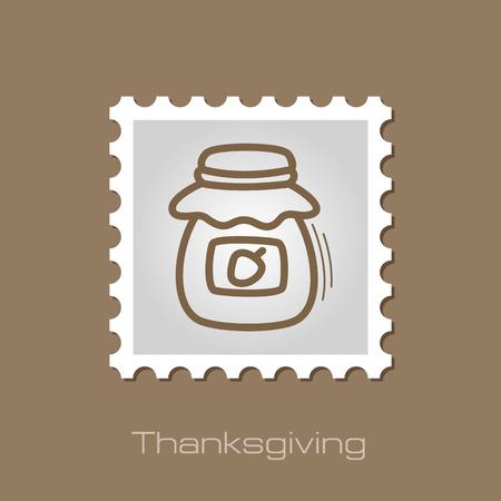 Jam jar stamp. Harvest. Thanksgiving vector illustration Illustration