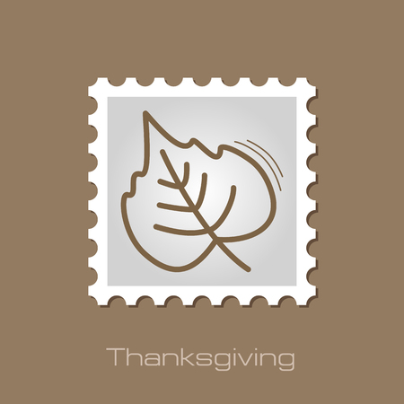 Autumn Leaves poplar stamp. Harvest. Thanksgiving vector