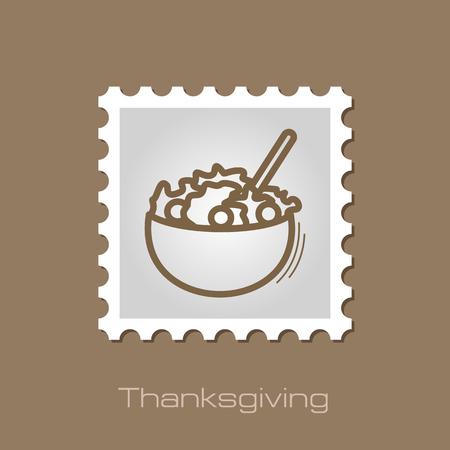 sides: Salad bowl stamp. Harvest. Thanksgiving vector illustration Illustration