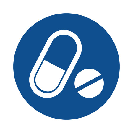 Medical pill flat icon. Medication vector sign Иллюстрация