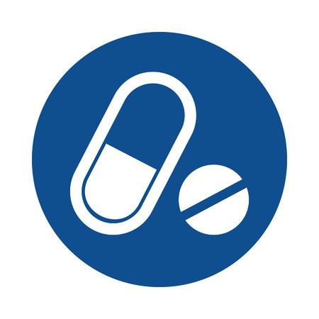 Medical pill flat icon. Medication vector sign Çizim