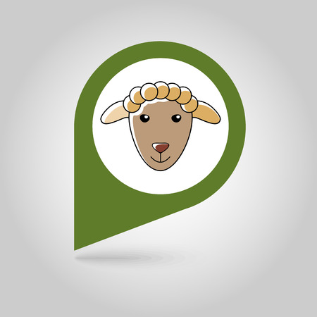 fluff: Sheep flat pin map icon. Map pointer. Map markers. Animal head vector illustration Illustration