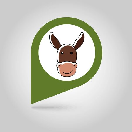 Donkey flat pin map icon. Map pointer. Map markers. Animal head vector illustration Illustration