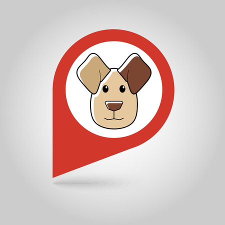 Dog flat pin map icon. Map pointer. Map markers. Animal head vector illustration