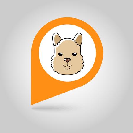 alpaca animal: Lama alpaca guanaco flat pin map icon. Map pointer. Map markers. Animal head vector symbol