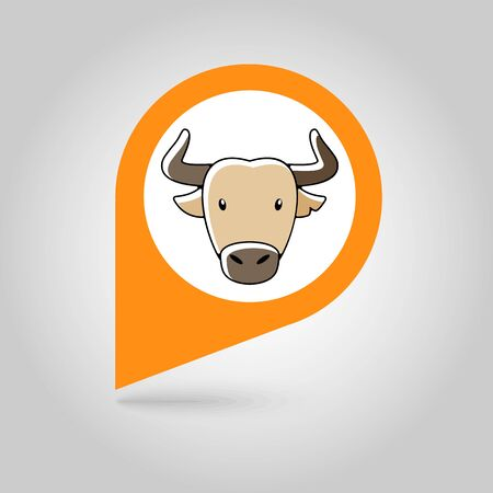 buffalo bison: Spanish bull bison buffalo ox flat pin map icon. Map pointer. Map markers. Animal horned head vector symbol