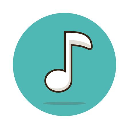 quaver: Music note icon vector illustration,