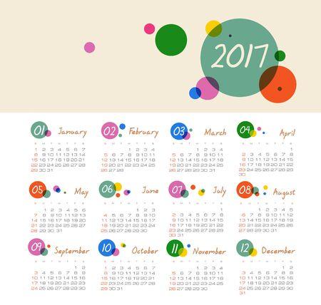 Modern vector Calendar 2017 year. Week Starts Sunday,