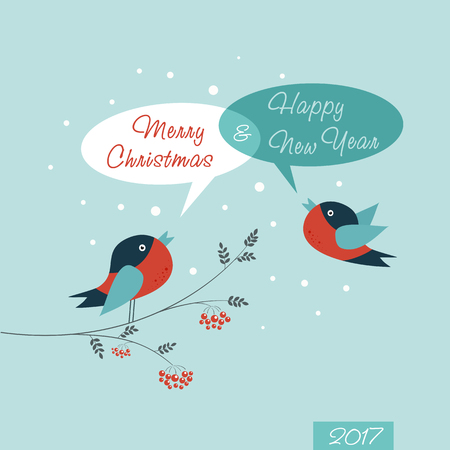 birdsong: Christmas Greeting Card. Happy New Year. Merry Christmas lettering, vector illustration Illustration
