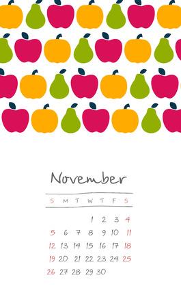Calendar 2017 months November. Week starts from Sunday,