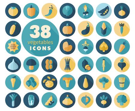 leek: Vegetables flat icons set. Vector illustration eps 10