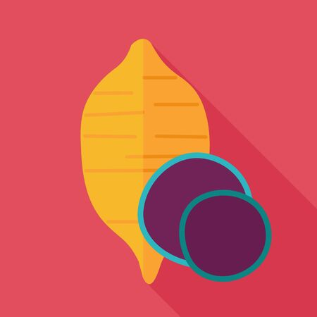 Sweet potato flat icon. Batata. Vegetable vector illustration